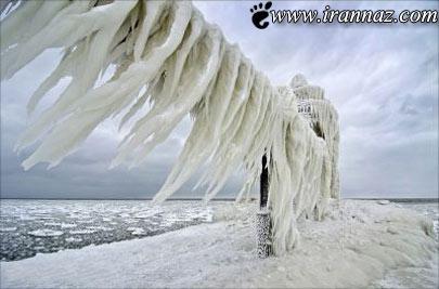 تصاویر شگفت انگیز از فانوس دریایی یخ زده