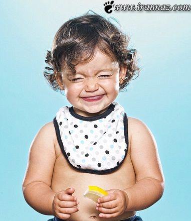 عکس های بامزه کودکان هنگام چشیدن لیمو ترش