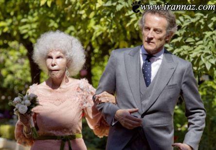 ازدواج جنجالی پیرزن 85 ساله با یک مرد جوان (عکس)