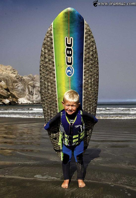 عکس های دیدنی از پسر موج سوار 3 ساله