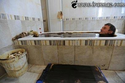 حمام کردن در وان نفت خام (عکس)