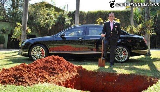 خاک کردن مردی با ماشین خودش (عکس)