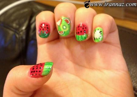 عکس هایی از مانیکورهای هندوانه با طرح جدید