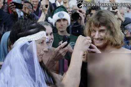 دستگیر شدن عروس و داماد برهنه در خیابان!! (عکس)