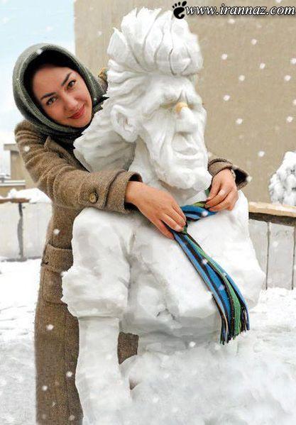 ساخت آدم برفی زیبا توسط بازیگر محبوب هانیه توسلی