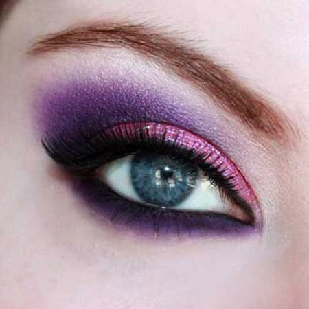 مدل آرایش چشم با تم بنفش رنگ سال 2014
