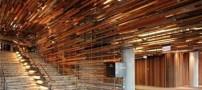 طراحی جالب ساختمان با چوب های معلق (عکس)