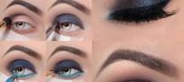 آموزش تصویری آرایش چشم با ترکیب دودی و آبی