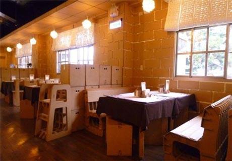 طراحی یک رستوران جالب و دیدنی از مقوا (عکس)