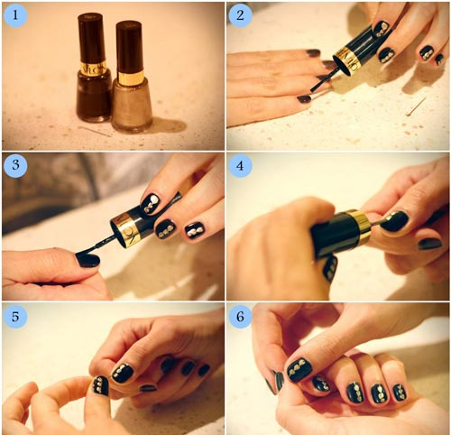 آموزش دیزاین ناخن با طرح سیاه و طلایی (عکس)