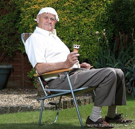 بستنی خوردن این پیرمرد برایش دردسرساز شد! (عکس)