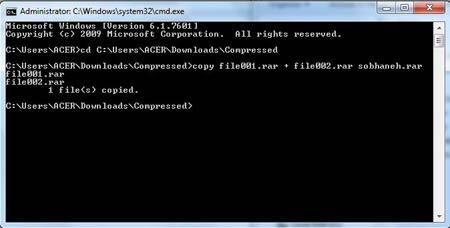 روش متصل کردن فایل های جداشده از طریق cmd