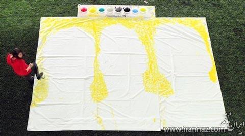 اثر هنری این خانم جوان با توپ و رنگ (عکس)
