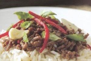 دستور طبخ برنج سرخ شده با نارگیل و بیف تایلندی