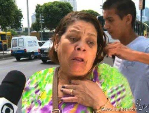 حادثه ناگهانی در روز روشن و هنگام مصاحبه این خانم را شوکه کرد! (عکس)