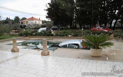 مهمان ذوق زده با ماشینش وارد استخر خانه میزبان شد! (عکس)