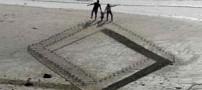نقاشی های سه بعدی یک هنرمند در ساحل