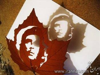 هنرمندی جالب یک مرد ایرانی روی برگ (عکس)