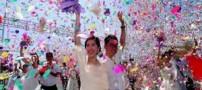 مراسم عروسی 77 زوج منجر به تصادف شد! (عکس)