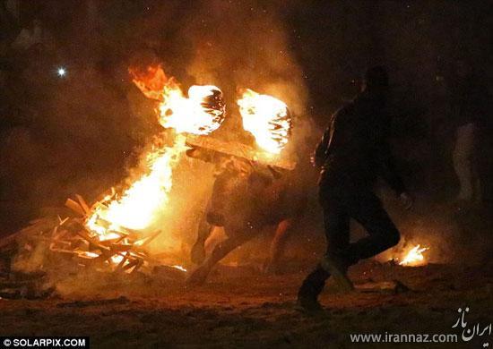 عکس های فستیوال وحشیانه و دردناک آتش زدن گاو