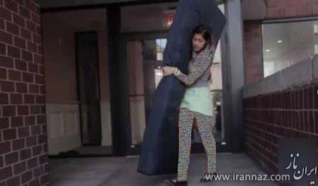 این دختر به خاطر تجاوز رختخوابش را با خود حمل می کند!