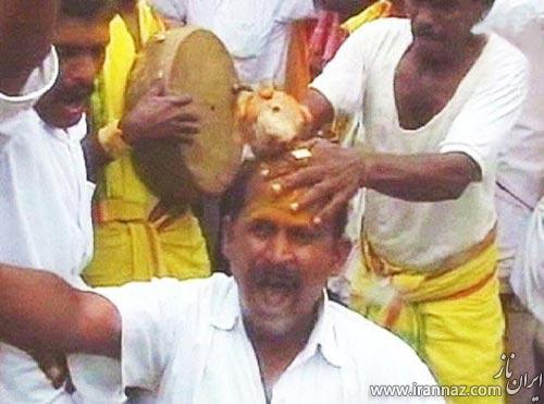 رسم عجیب روستایی در هند برای موفقیت و سلامتی! (عکس)