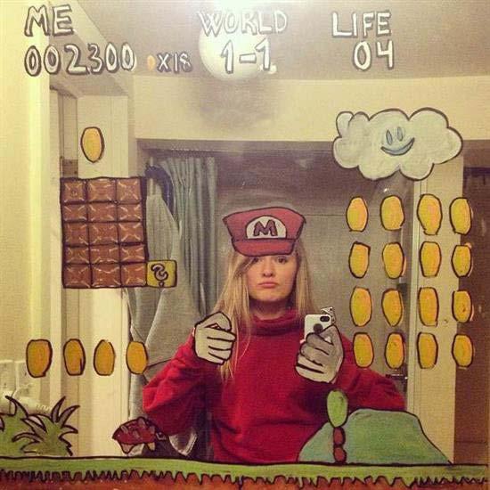 ایده جالب و دیدنی دختر آمریکایی در عکس های سلفی اش (عکس)