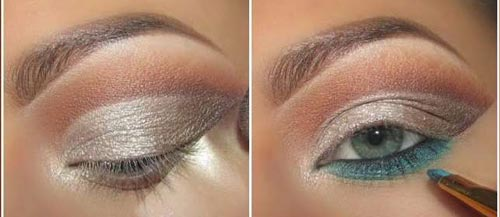 مدل آرایش چشم عروس به رنگ دودی و آبی