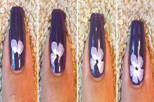 دیزاین تصویری ناخن به طرح گل بنفشه