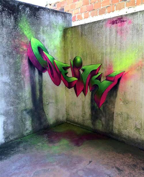 نقاشی های سه بعدی شگفت انگیز روی دیوار