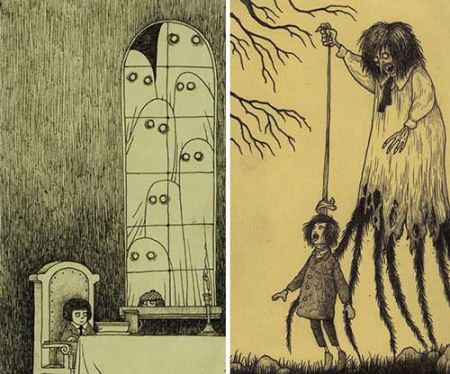 نقاشی های دیدنی مفهومی ترس کودکان