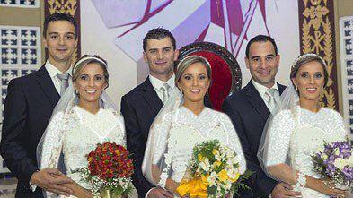 ازدواج جنجالی خواهران 3 قلو در یک روز با شباهت باورنکردنی (عکس)