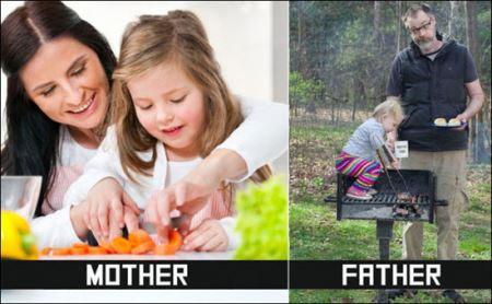 تفاوت های جالب پدران و مادران در بچه داری (عکس)