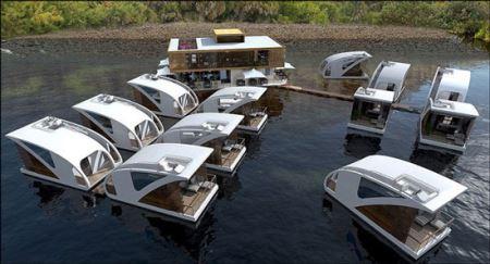 زیباترین هتل لوکس روی آب (عکس)