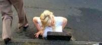 گیر کردن خنده دار دختری بزرگ در چاه فاضلاب (عکس)