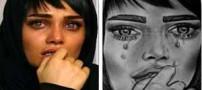 نقاشی های دیدنی از چهره تینا آخوند تبار