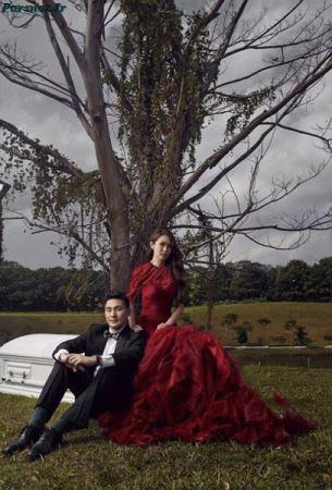 تم جنجالی این عروس و داماد با مرگ و تابوت (عکس)