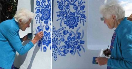 نقاشی های دیواری زن 87 ساله (عکس)
