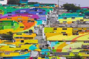 شهر زیبای رنگین کمانی در مکزیک (عکس)