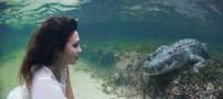 شنای جنجالی مانکن معروف ایتالیایی (عکس)