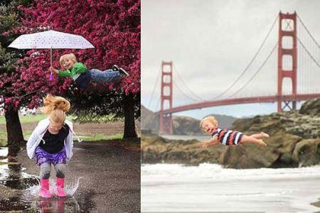 عکس های حیرت انگیز پرواز کردن دختر 5 ساله
