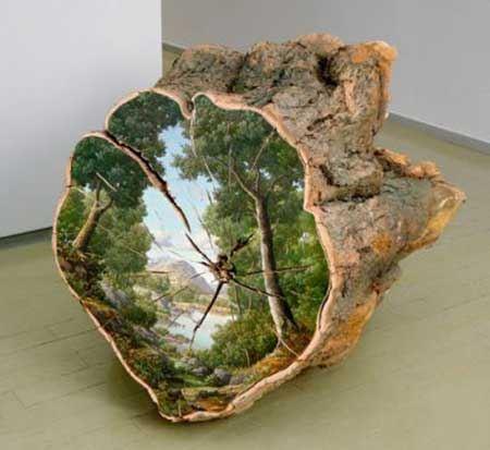 نقاشی های شگفت انگیز روی تنه درخت