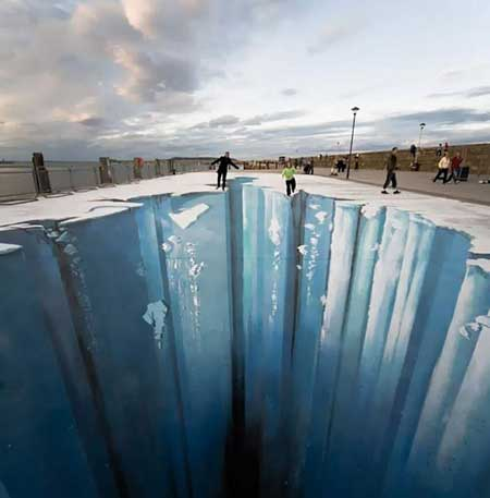 نقاشی های سه بعدی شگفت انگیز در کف خیابان (عکس)