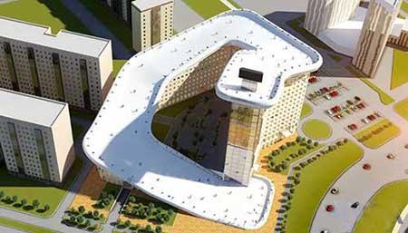 طراحی پیست اسکی بر بام یک برج در قزاقستان (عکس)