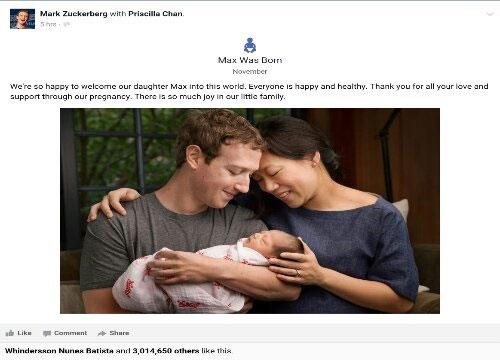 مالک فیسبوک بالأخره پدر شد و 99 درصد ثروتش را بخشید (عکس)