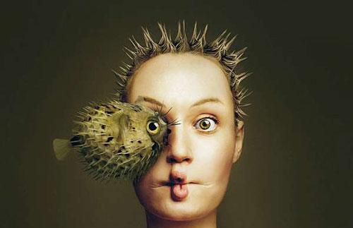 عکسهای جالب ترکیب چشم حیوانات با صورت انسان