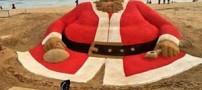 بزرگترین بابانوئل غول پیکر دنیا در کنار دریا (عکس)