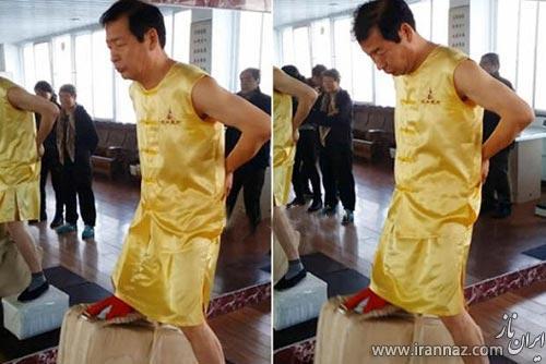 مردی که با بیضه هایش دمبل 80 کیلویی می زند (عکس)