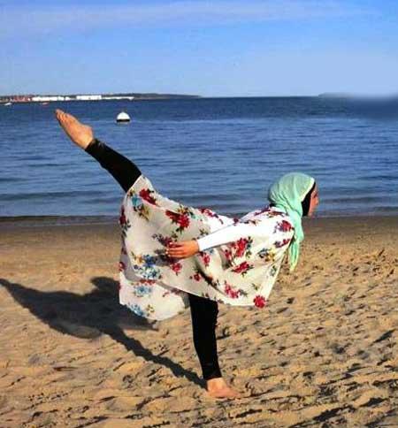 دختر رقصنده با حجابی که باله می رقصد (عکس)
