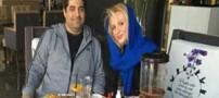شهرام جزایری و همسر و فرزندش در رستوران (عکس)
